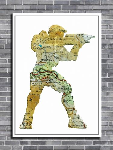GAMES - HALO MASTER CHIEF PERSONALISED MAP ART canvas print - self adhesive poster - photo print